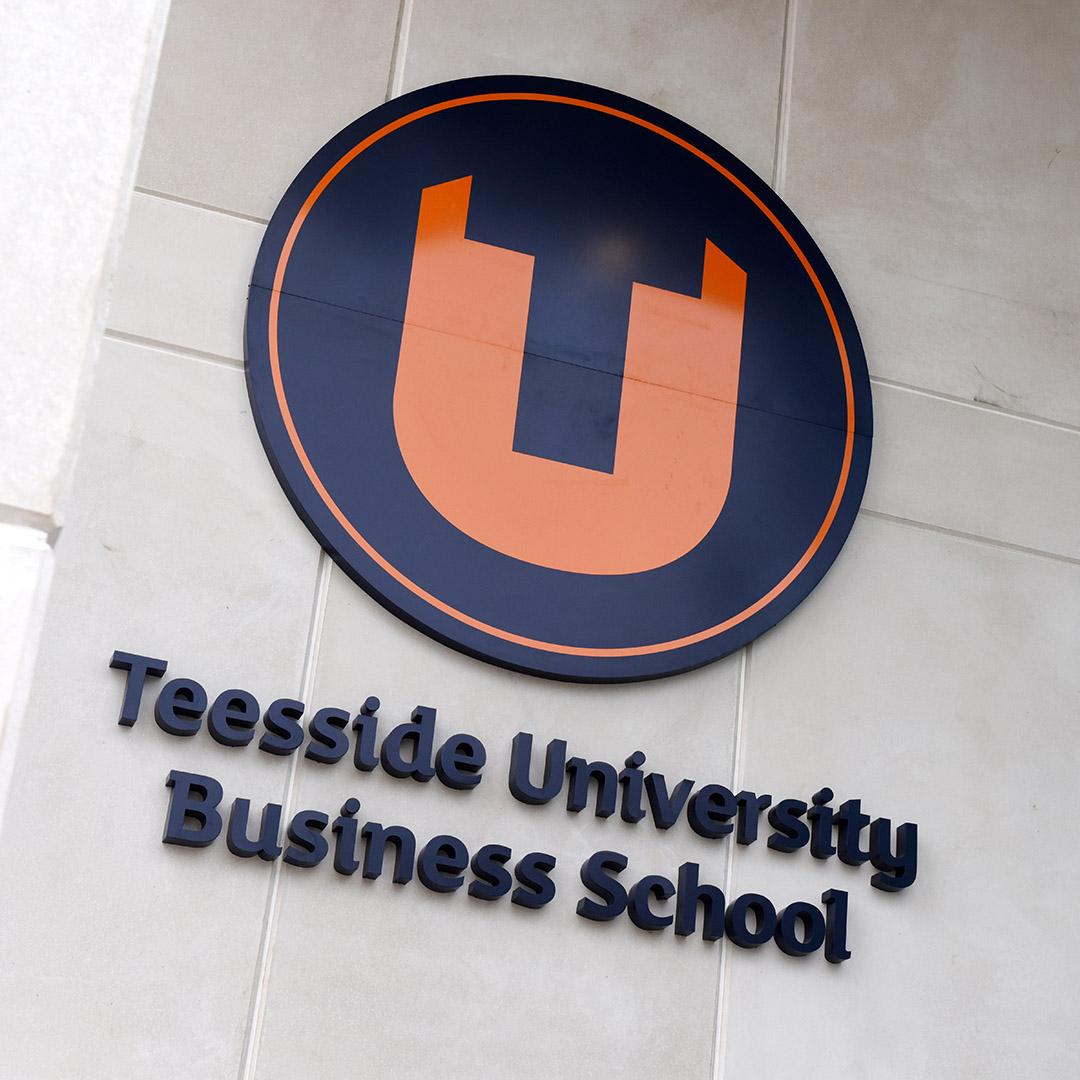 Campus TBS Teesside Business School exterior branding signage